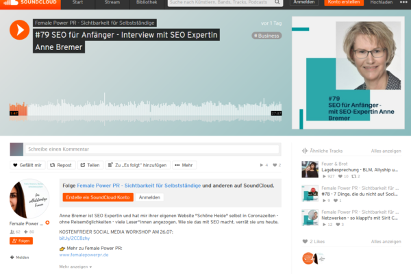 Screenshot - Podcastinterview mit Aline Pelzer auf soundcloud