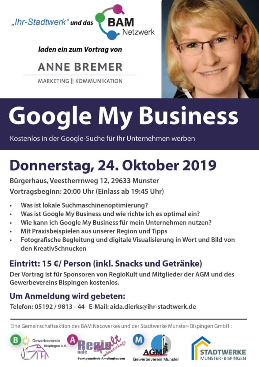 "Plakat zum Vortrag ""Google My Business"" am 24.10.2019"