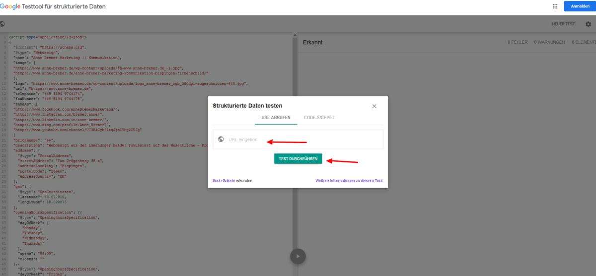 Screenshot Testtool für Strukturierte Daten von Google