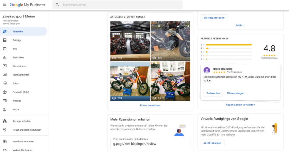 Google My Business bearbeiten - Screenshort der Startseite (Mitte)