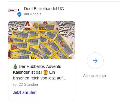 """""""Neuigkeit"""" - Aktueller Beitrag von Dodt Einzelhandel UG in der Google Suche"""