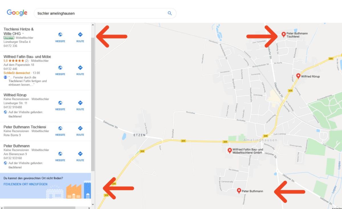 """Screenshot Suchergebnis """"tischler amelinghausen"""" aus Google Maps"""