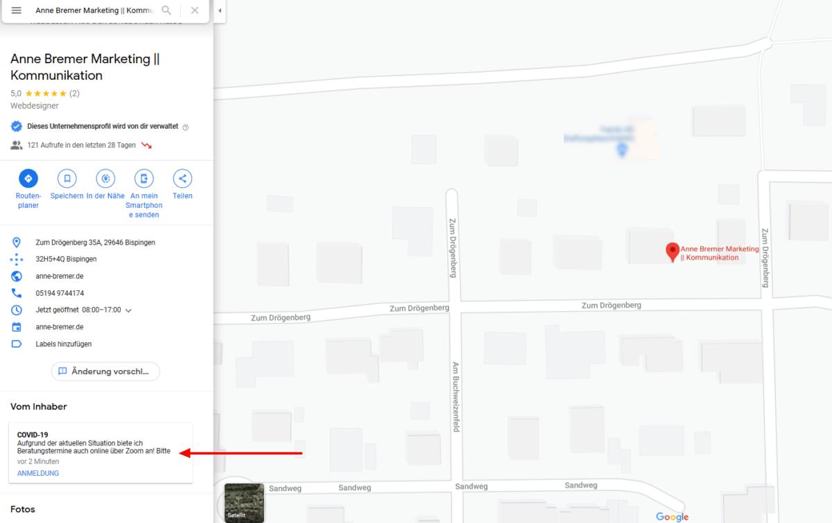 Beispiel: Darstellung Covid-19-Update bei Google Maps