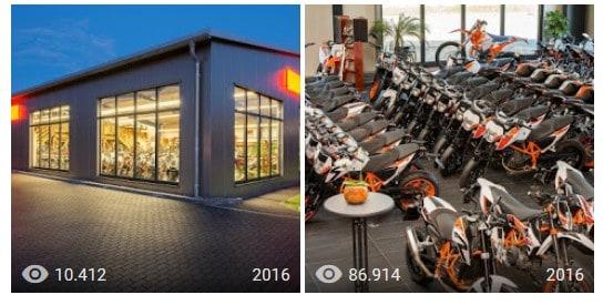 Fotos aus dem Google My Business-Eintrag von KTM Bispingen mit Anzahl der Aufrufe 2016 bis 10/2019