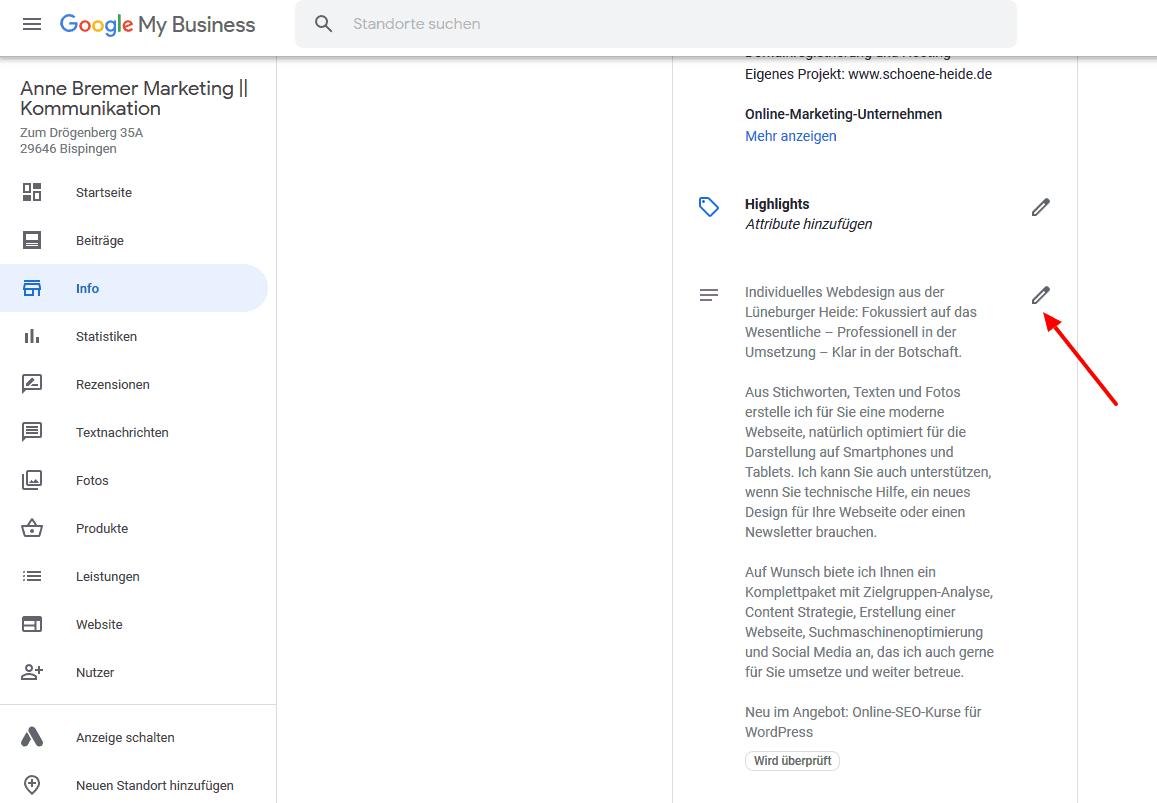 Die Unternehmensbeschreibung in Google My Business ändern