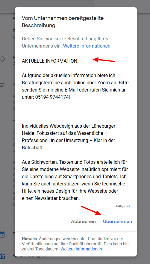 Ändern Sie den Infotext ab mit aktuellen Informationen!