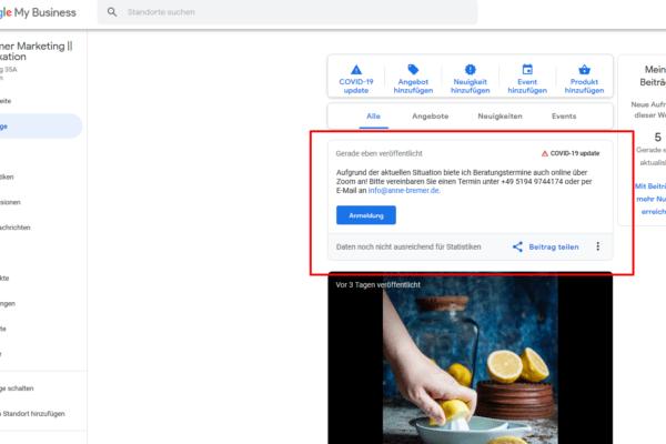 Google My Business: Updates aufgrund von Covid-19