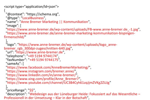 "Screenshot Strukturierte Daten ""Local Business"" im Format JSON-LD"
