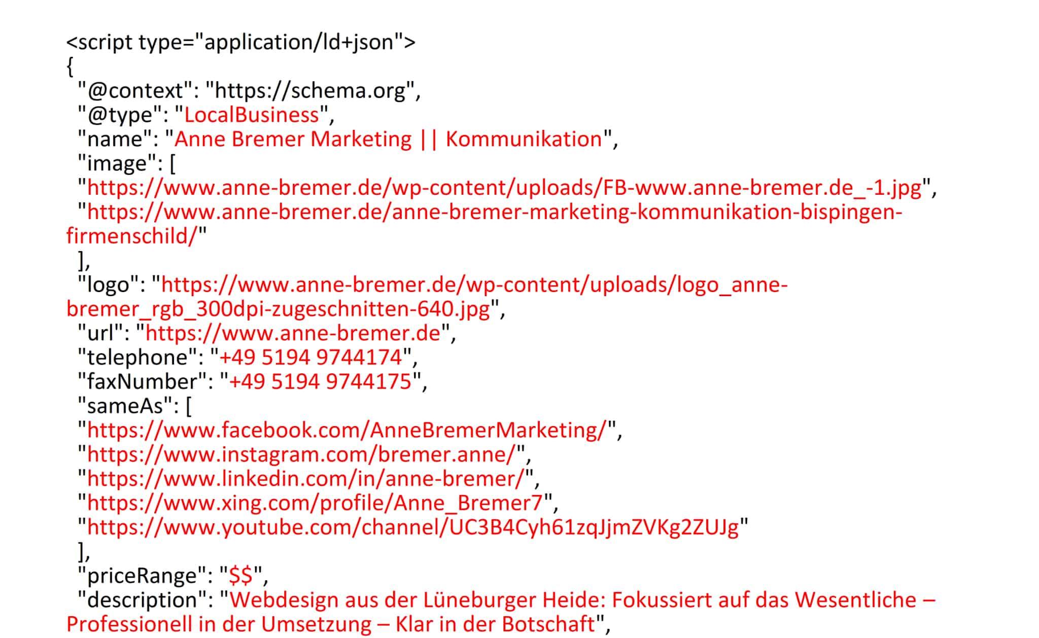 """Screenshot Strukturierte Daten """"Local Business"""" im Format JSON-LD"""