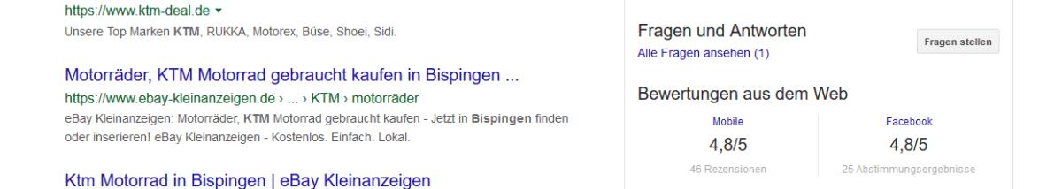 """Screenshot Suchergebnis """"ktm bispingen"""" in der Google Suche"""