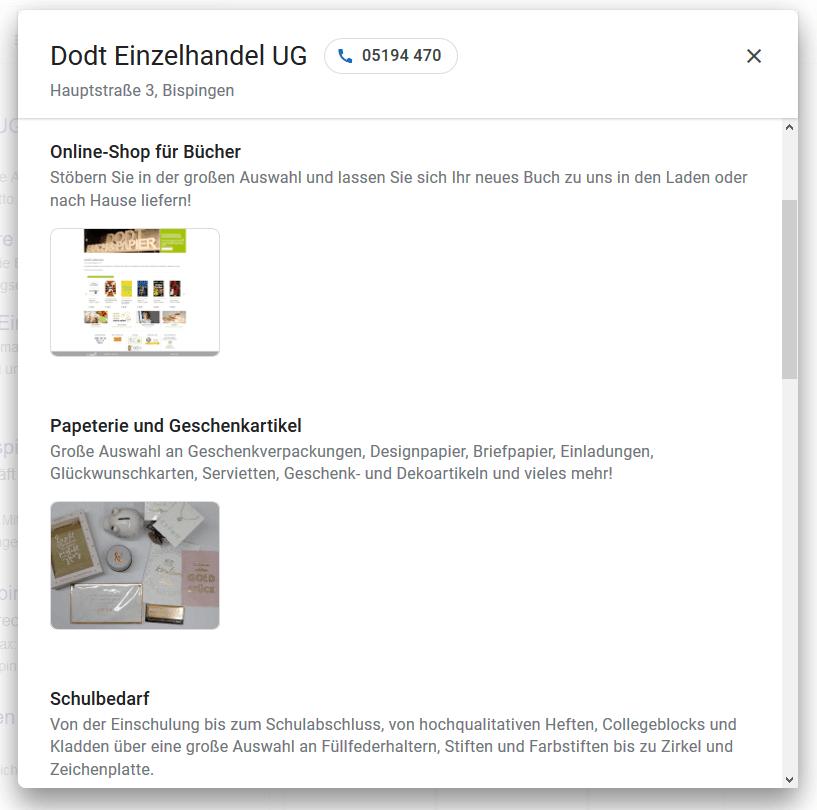 Screenshot aus der Google Suche mit Produktkategorien, Fotos und Beschreibungen für Schreibwaren Dodt, Bispingen