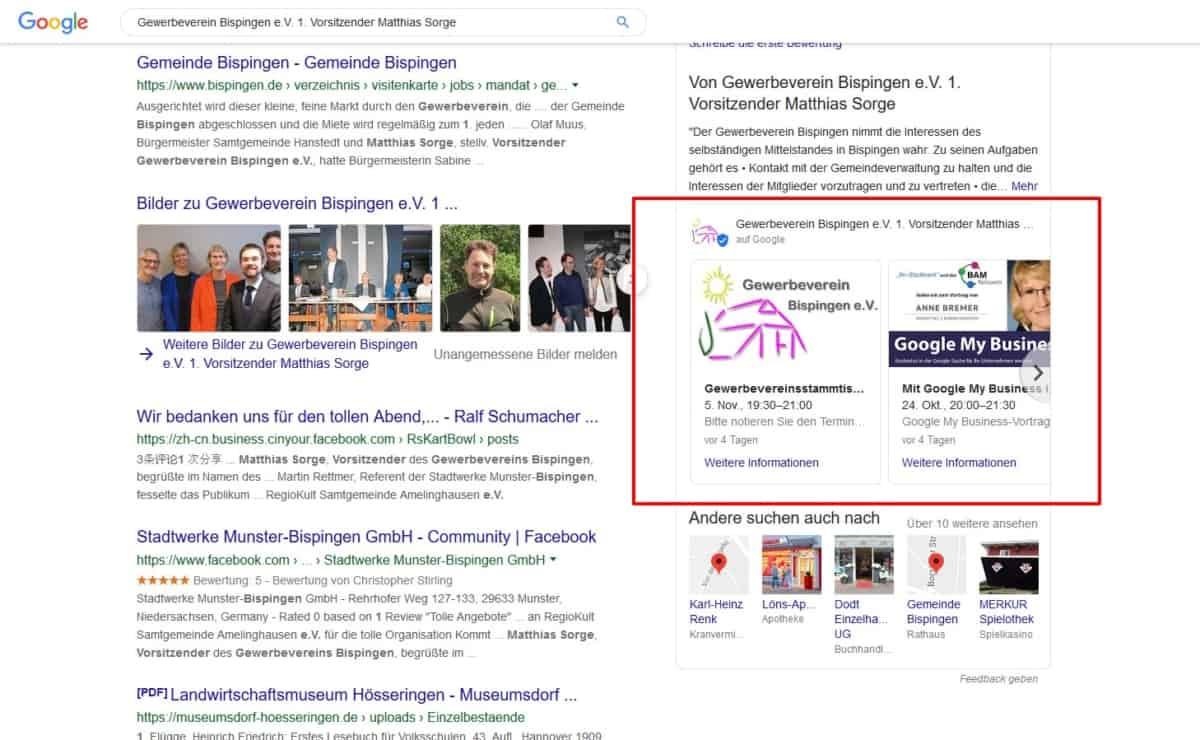 Screenshot: Aktuelle Veranstaltungen des Gewerbevereins Bispingen e.V. in der Google Suche