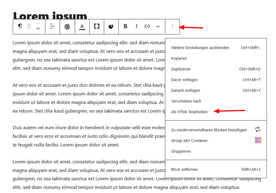 Screenshot - Auswahl Block als HTML bearbeiten