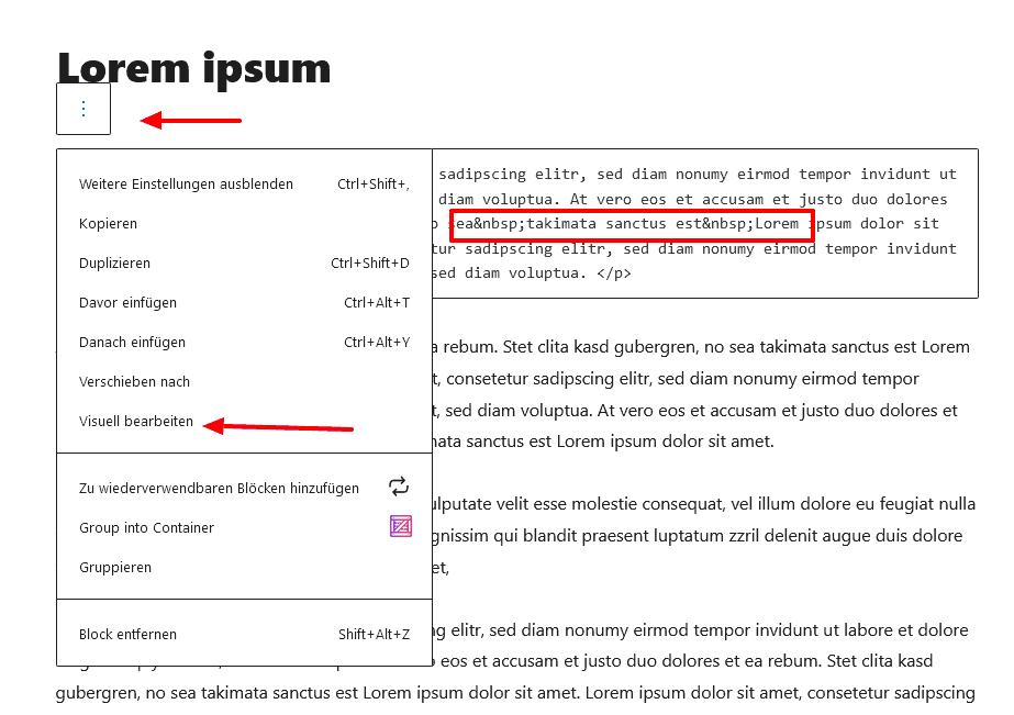Screenshot - Auswahl Block visuell bearbeiten