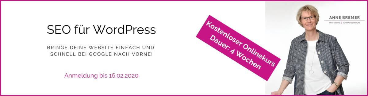Werbebanner SEO-Onlinekurs 2020 Anne Bremer