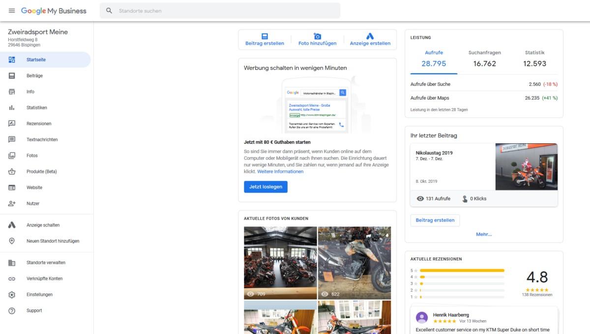 Google My Business bearbeiten - Screenshot der Startseite (oben)